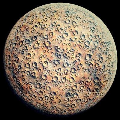 Väggdekor Planet med krater på en svart