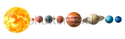 Väggdekor Planets of the solar system, 3D rendering isolated on white background, Elements of this image furnished by NASA