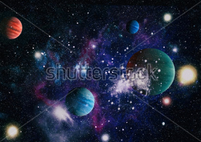 Väggdekor planets, stars and galaxies in outer space showing the beauty of space exploration. Elements furnished by NASA