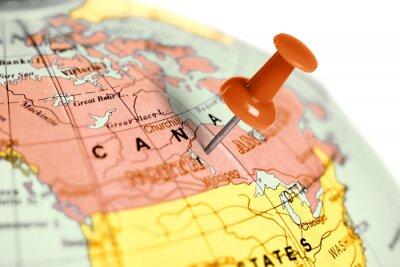 Väggdekor Plats Kanada. Röd stift på kartan.