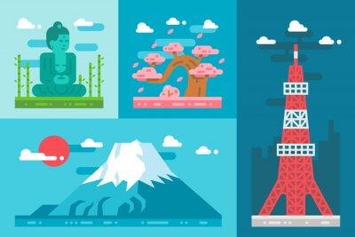 Väggdekor Platt design japan landmärken inställd