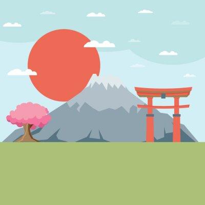 Väggdekor Platt design landskapet Japan illustration vektor