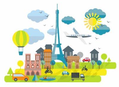 Väggdekor Platt designillustrationen med Eiffeltornet i Paris stad