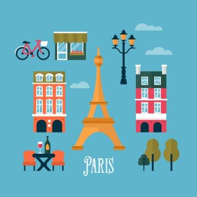 Väggdekor Platta snygga ikoner för Paris, Frankrike. Resor och turism infogra