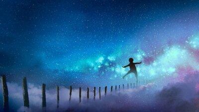 Väggdekor pojken balanserar på träspinnar mot Vintergatan med många stjärnor, digital konststil, illustrationmålning