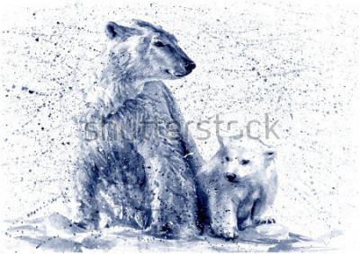 Väggdekor Polar bear black&white