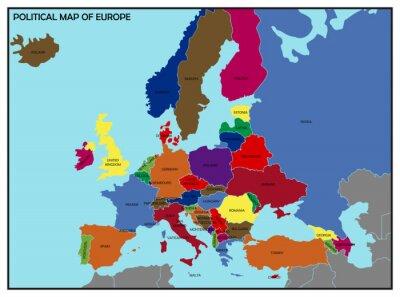 Väggdekor Political Map of Europe