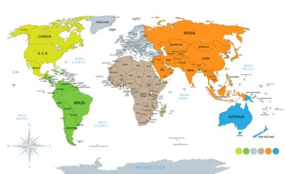 Väggdekor Political world map on white background, with every state labeled and selectable. Colored by continents. Versatile file, turn on an off visibility and color of each country in one click.