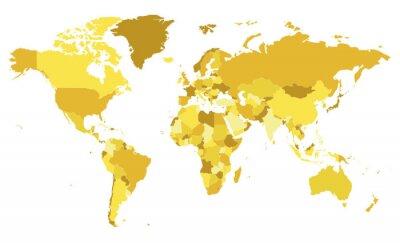 Väggdekor Politisk blank världskarta vektor illustration med olika toner av gult för varje land. Redigerbara och tydligt märkta lager.