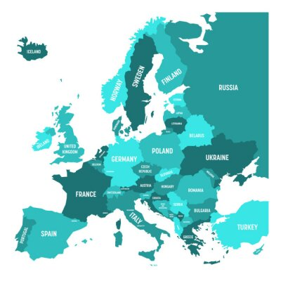 Väggdekor Politisk karta över Europa kontinenten i fyra nyanser av turkosblå med vita landnamn etiketter och isolerad på vit bakgrund. Vektor illustration.
