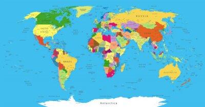 Väggdekor Politisk världskarta