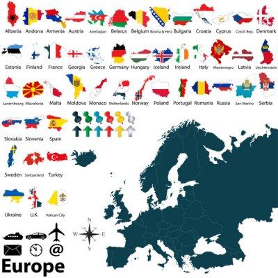 Väggdekor Politiska kartan i Europa