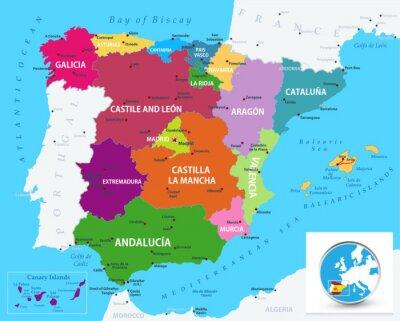 Karta Pa Spansk.Politiska Kartan I Spanien Dekor Pa Laptop Vaggdekor Flera Farger