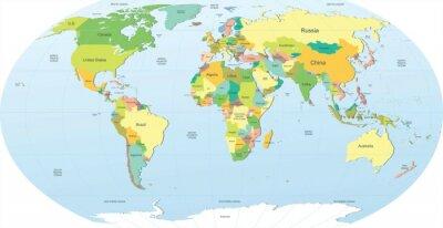 Väggdekor politiska världskarta i färg