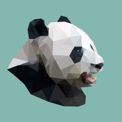 Väggdekor polygonal panda, polygon abstrakt geometriska djur, vektor illus