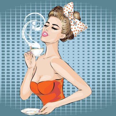Väggdekor Pop Art kvinna porträtt med morgonen kopp te. Pinuppa
