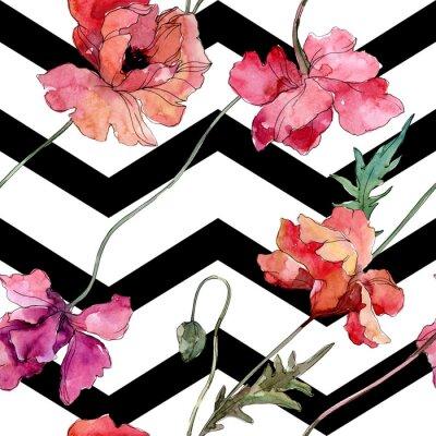 Väggdekor Poppy floral botanical flower. Watercolor background illustration set. Seamless background pattern.