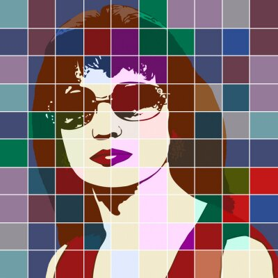 Väggdekor Porträtt av en kvinna med effekten av målat glas