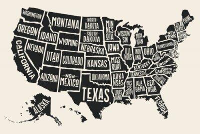 Väggdekor Poster karta över USA med statliga namn. Svartvit utskrift karta över USA för t-skjorta, affisch eller geografiska teman. Handritade svart karta med stater. Vector Illustration