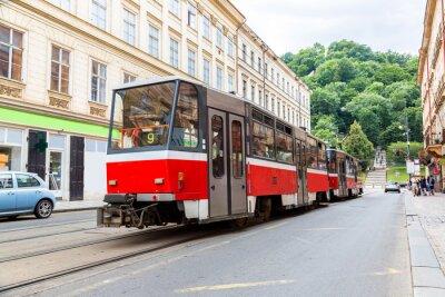 Väggdekor Prag röd spårvagn detalj, Tjeckien