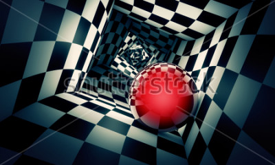 Väggdekor Predetermination. Red ball in a chess tunnel (concept image). The space and time. 3D illustration. Available in high-resolution and several. If you buy this image, I will be very grateful to you!