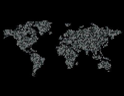 Väggdekor Prickad Karta över världen Kontinenter Random Gray