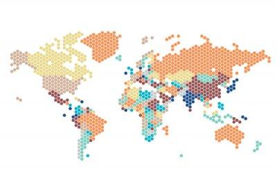 Väggdekor Prickade världskarta av sexkantiga punkter