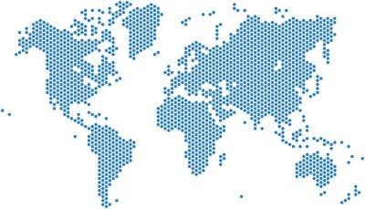 Väggdekor Prickar världskarta på vit bakgrund, vektor illustration.