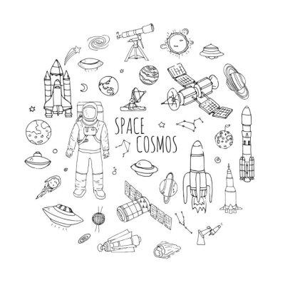 Väggdekor Räcka utdraget klotter Space och Cosmos set Vector illustration universum ikoner rumskonceptet element raket rymdskepp symboler samling solsystemet planeter Galax Vintergatan Astronaut Tech frihand ik