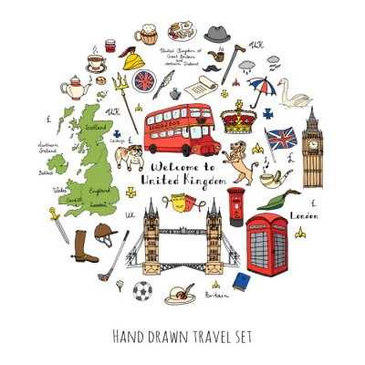 Väggdekor Räcka utdraget klotter Storbritannien set vektor illustration brittiska ikoner Välkommen till London element brittiska symboler samling Tea Bus Ridning Golf Crown Beer Lion Bulldog London bro Big Ben