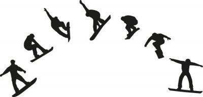Väggdekor Rad av snowboard silhuetter hoppning