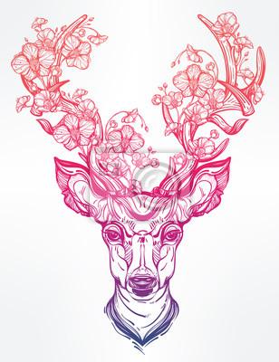 Väggdekor Rådjur huvudet med blommor i linje konst stil.