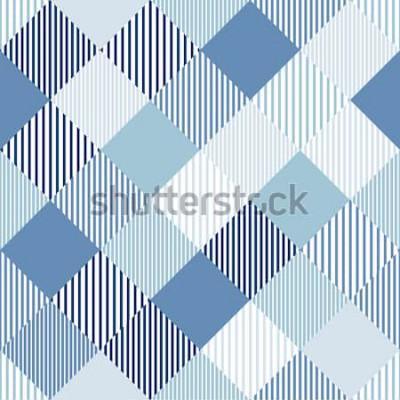 Väggdekor Randig geometrisk sömlös modell för blå och vit abstrakt enkel checker, vektor