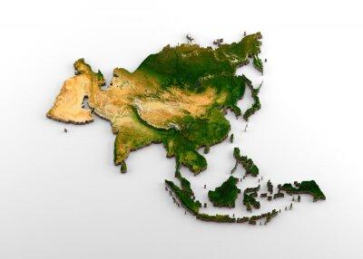 Väggdekor Realistisk 3D-extruderad karta över den asiatiska kontinenten (inklusive indiska delkontinenten, östra Asien, Ryssland och Mellanöstern)