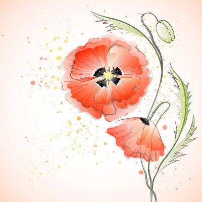 Väggdekor Red Poppy Bouquet