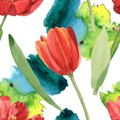 Väggdekor Red tulip floral botanical flowers. Watercolor background illustration set. Seamless background pattern.