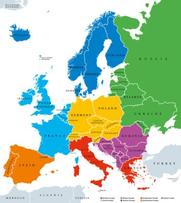 Väggdekor Regions of Europe, political map, with single countries and English labeling. Northern, Western, Southeastern, Eastern, Central, Southern, Southwestern Europe in different colors. Illustration. Vector