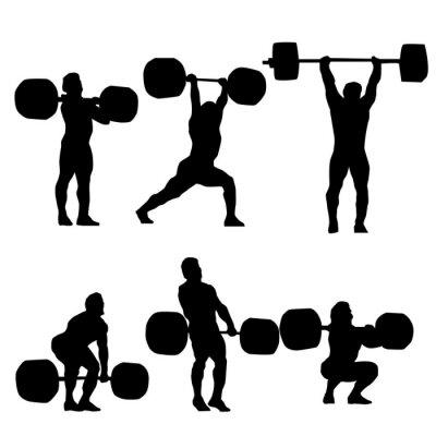 Väggdekor Ren och Jerk Silhouette of weightlifter