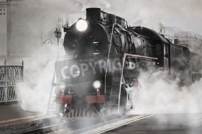 Väggdekor Retro ånga tåget avgår från järnvägsstationen