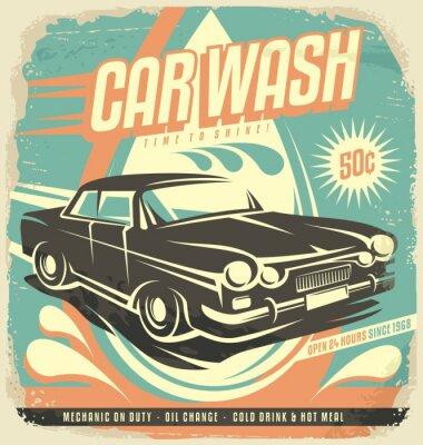 Väggdekor Retro biltvätt affischdesign