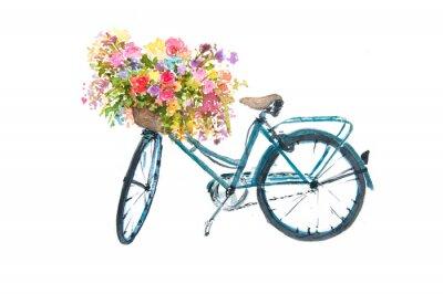 Väggdekor Retro blå cykel med blomma på vit bakgrund, akvarellillustrator, cykelkonst