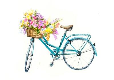 Väggdekor Retro blå cykel med blommor i korg på vit isolering, akvarell hand ritad på papper