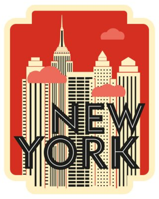 Väggdekor Retro design poster New York. Skyscrapers and clouds. Vector drawing
