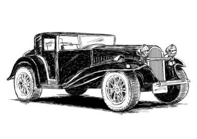 Väggdekor Retro klassiska gamla bil vektorillustration