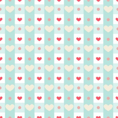 Väggdekor Retro seamless med små hjärtan på ginghambakgrund