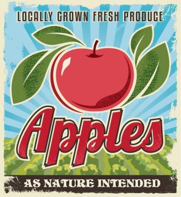 Väggdekor retro tappning apple etikett