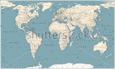 Väggdekor Retro World Map and Main State Roads. Large Detailed World Map vector illustration.