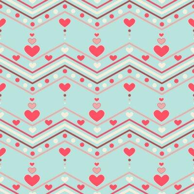 Väggdekor Retrostil sparre sömlösa mönster med hjärtan