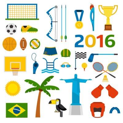 Väggdekor Rio sommaren olympiska spelen ikoner vektor
