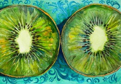 Väggdekor Rita en akvarell på papper, frukt, kiwi